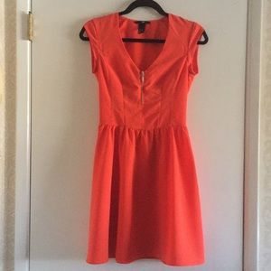 H&M•Orange Cap Sleeve Fitted Dress